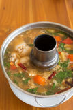 Spicy seafood egg soup Stock Images