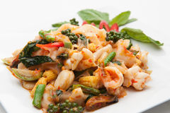 Spicy seafood fried Stock Image