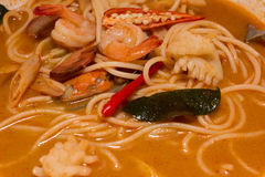 Spicy seafood noodle soup Royalty Free Stock Images