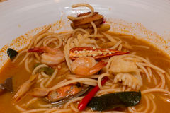 Spicy seafood noodle soup Royalty Free Stock Photos