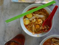 Spicy seafood noodles soup stock photography
