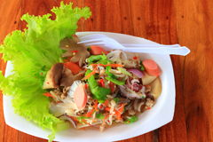 Spicy seafood salad with mushrooms. Isolate of Thai spicy seafood salad with mushrooms royalty free stock photo
