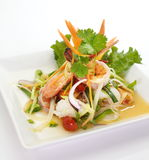 Spicy seafood salad. Photo of Thai spicy seafood salad royalty free stock photos