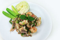 Spicy seafood salad with roasted rice powder Stock Photos