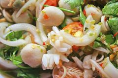 Spicy seafood salad,Thai food stock images