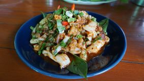 Delicious food Spicy seafood Thai salad stock photography