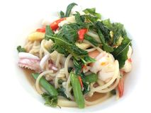 Spicy seafood spaghetti. An Italian spaghetti with Thai spicy fusions style Stock Photography