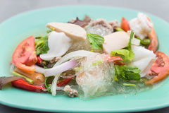Spicy seafood vermicelli salad Stock Images