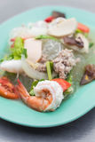 Spicy seafood vermicelli salad Royalty Free Stock Photos