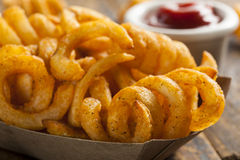 Spicy Seasoned Curly Fries Stock Images