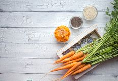 Spicy sesame carrot noodles salad ready-to-eat overhead. Vegetable carrot with chia seeds, sesame, fresh carrots.  Clean eating,. Raw vegetarian food concept stock photography