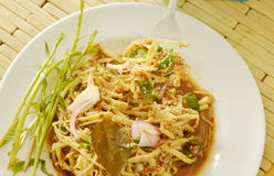 Spicy shredded bamboo shoot salad in Thai northeastern style scooping on fork Stock Photo