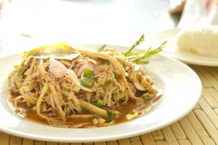 spicy shredded bamboo shoot salad in Thai northeastern style with sticky rice Royalty Free Stock Images