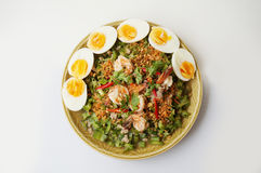 Spicy shrimp and betel nuts salad. Asia-Asian eating food, Thai food, Yum Tua Poo: Spicy Shrimp and betel nuts salad or Winged bean salsa, with boil eggs  on Stock Images