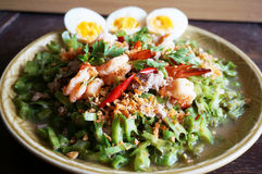 Spicy Shrimp and betel nuts salad. Asia-Asian eating food, Thai foof, Yum Tua Poo: Spicy Shrimp and betel nuts salad or Winged bean salsa, with boil eggs Stock Photos