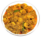 Spicy shrimp curry on a white bowl Stock Images