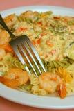 Spicy shrimp pasta Stock Images