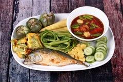 Spicy shrimp paste dip ,Nam Prik Kapi with side dish. Royalty Free Stock Photo