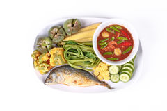 Spicy shrimp paste dip ,Nam Prik Kapi with side dish. Stock Image