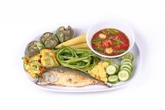 Spicy shrimp paste dip ,Nam Prik Kapi with side dish. Royalty Free Stock Image