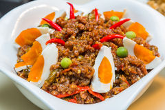 Spicy shrimp paste with salted duck egg Royalty Free Stock Photography