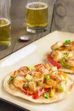 Spicy Shrimp Pizza Stock Photography