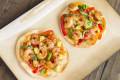 Spicy Shrimp Pizza Royalty Free Stock Photography