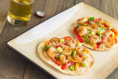 Spicy Shrimp Pizza Royalty Free Stock Images