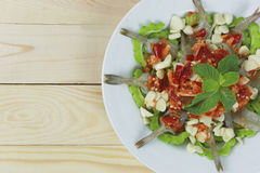 Spicy shrimp salad with fish sauce in white dish. Royalty Free Stock Photography