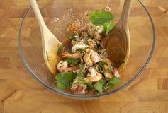 Spicy shrimp salad Stock Photo
