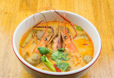Spicy shrimp soup. Tom Yum kung,spicy shrimp soup Royalty Free Stock Photography