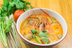 Spicy shrimp soup. Tom Yum kung,spicy shrimp soup Stock Photos