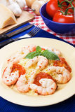 Spicy shrimps with cooked rice Royalty Free Stock Image