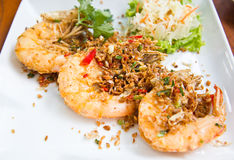 Spicy shrimps fried. And vegetabl stock images