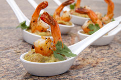 Spicy Shrimps Guacamole Stock Images