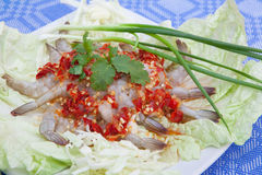 Spicy shrimps. Thai food shrimps spicy salad Royalty Free Stock Photos