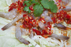 Spicy shrimps. Thai food shrimps spicy salad Stock Photography
