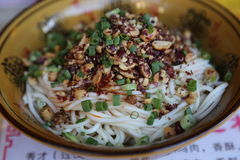 Spicy Sichuan Noodles Royalty Free Stock Photo