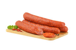 Spicy smoked Hungarian sausages Royalty Free Stock Images