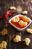Spicy snacks  in the form of hearts Stock Images