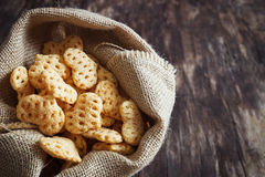 Spicy snacks  in the form of hearts Stock Photos