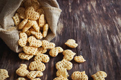 Spicy snacks  in the form of hearts Royalty Free Stock Photo