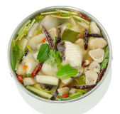 Spicy Soup with Catfish (Tomyum), Thai food. Royalty Free Stock Photo