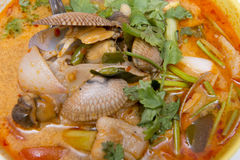 Spicy soup with clams, thai food Royalty Free Stock Photo