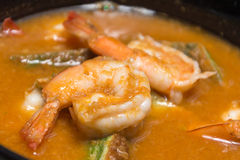 Spicy and Soup Curry with Shrimp Stock Photo