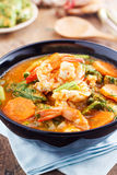 Spicy and Soup Curry with Shrimp and Vegetable Omelet Royalty Free Stock Photos