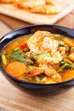 Spicy and Soup Curry with Shrimp and Vegetable Omelet Stock Photos