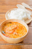 Spicy soup and jasmine rice thai easy meal Royalty Free Stock Image