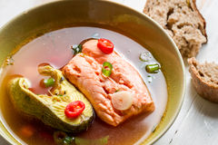 Spicy soup made ​​of two fish species Stock Photos