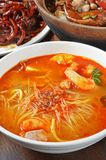 Spicy soup rice noodles Royalty Free Stock Images